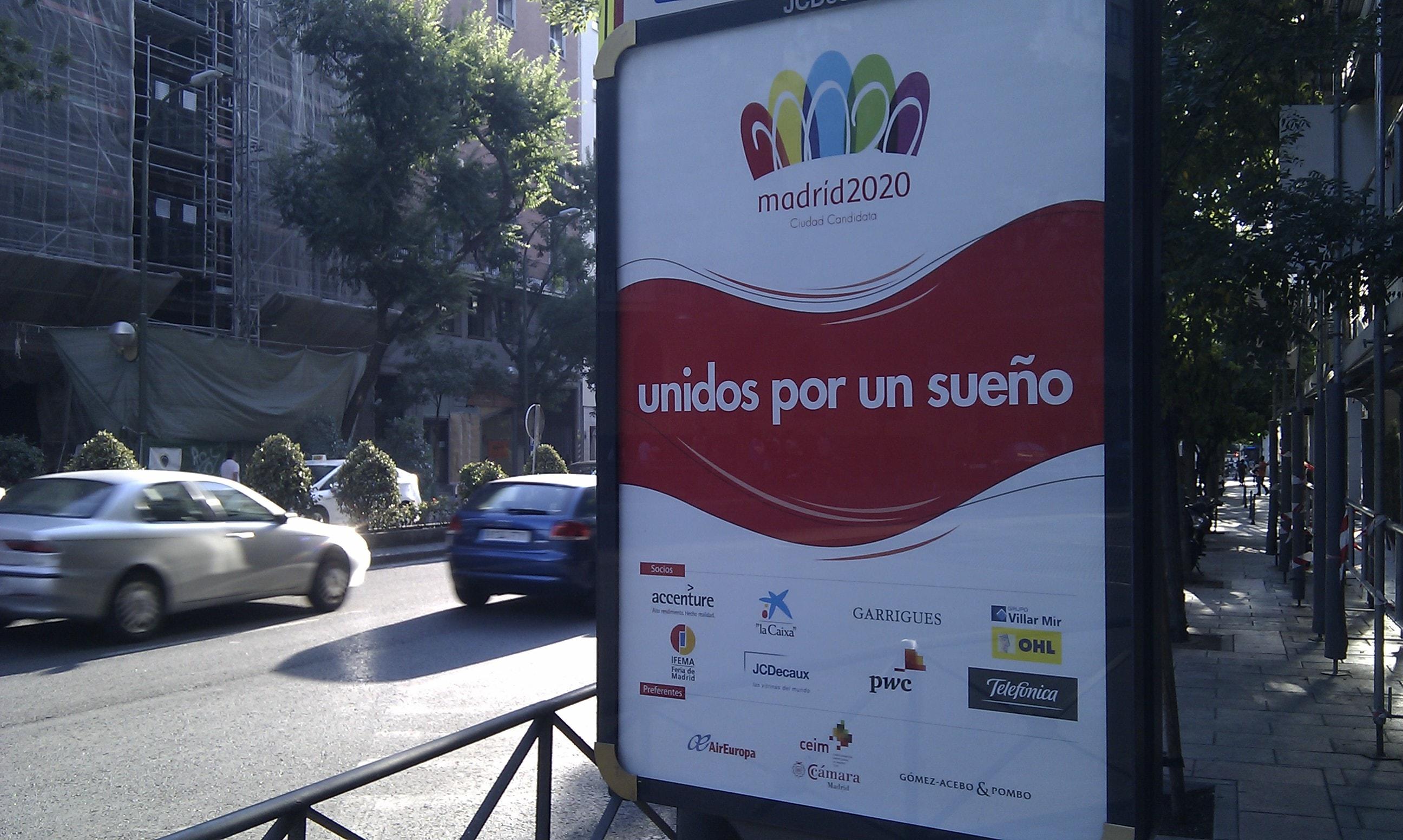 Mupi campaña candidatura de Madrid como ciudad olímpica 2020.